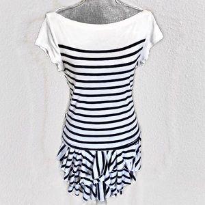Ralph Lauren Sport Striped Boat Neck Ruffled Dress